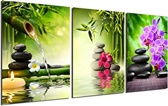 Zen Painting Wall Art Decor - Canvas Painting Modern Stone Spa Poster Home Office Kitchen Decoration Unframed Green Bamboo leaf Candles Purple Orchid Hibiscus Giclee Print 3 Panels Picture Artwork