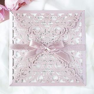 50 CARTE CONFEZIONE Carta rosa nebbiosa con busta partecipazioni matrimonio taglio laser fai da te inviti matrimonio