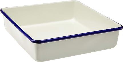 Wiltshire HW0937 Enamel Square Blue Rim Brownie Pan, 23 x 5 cm, 2 L, Cream