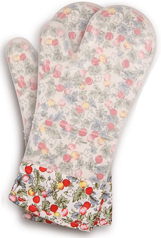 Gia SWorld Extra Long Professional Silicone Oven Mitt 1 Pair Flowers