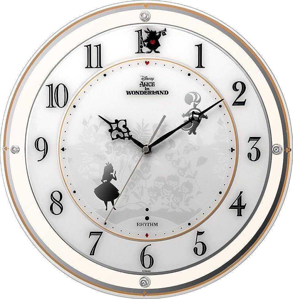 ゲインセイ拳注意リズム時計工業 置き時計?掛け時計 Φ34.1x5.4cm ディズニー キャラクター 電波 アナログ アリス Alice 4MY854MC14