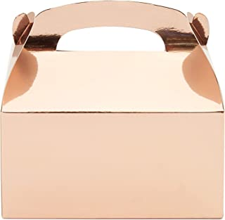 Juvale Party Favor Gable Boxes (24 Pack) Rose Gold, 6 x 3.5 Inches
