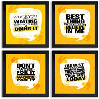 PnF® Set of 4 Motivational QUOTES-030-(28x28inch,Synthetic,Multicolour)