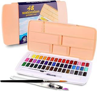 TBC بهترین کاردستی مجموعه رنگ آبرنگ ، 48 رنگ ممتاز با برس آب ، قلاب قلاب ، کیت قابل حمل آب رنگ برای دانشجویان ، مبتدیان ، هنرمند