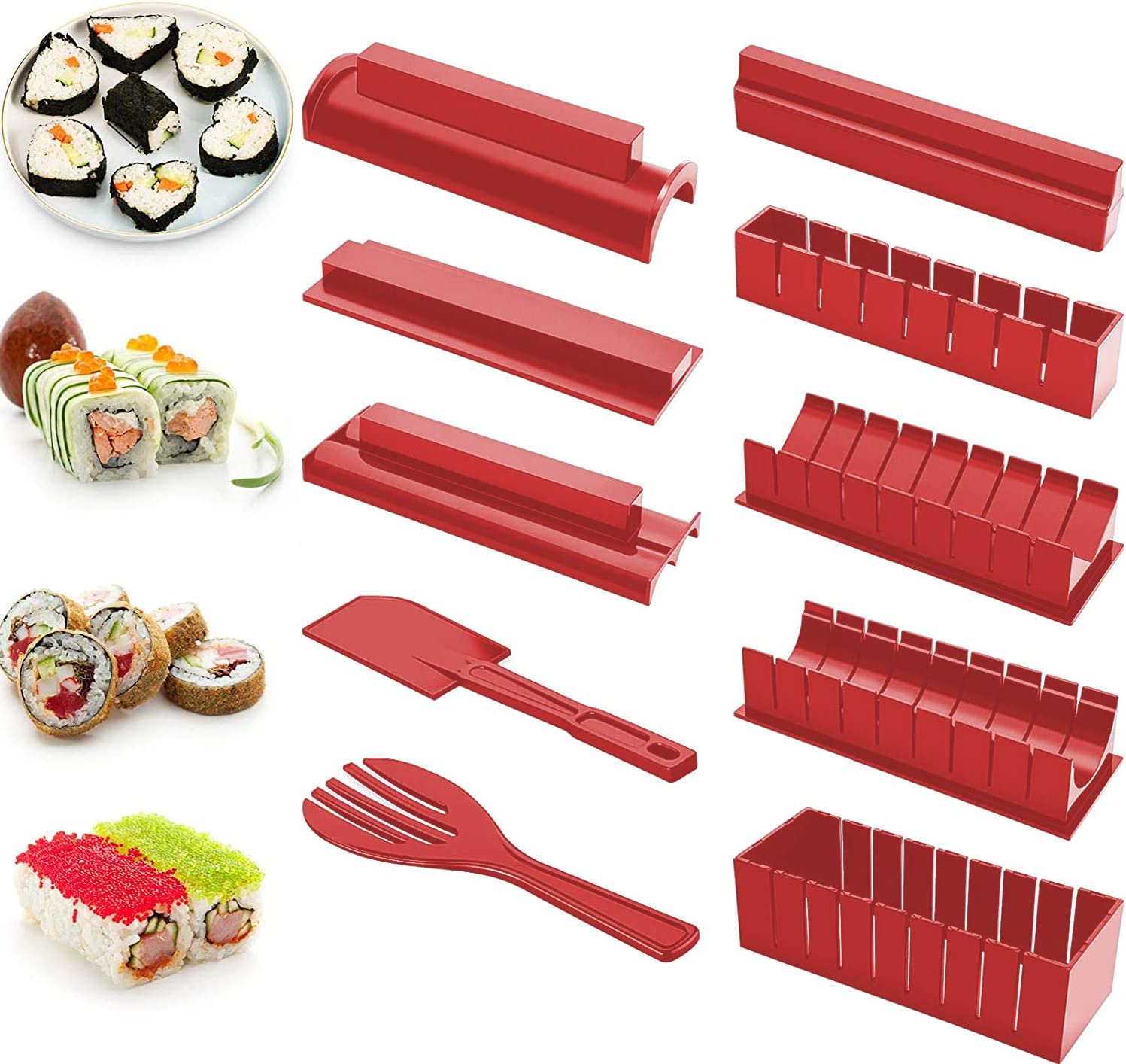 Sushi Making Kit Red Beginners 10 Pieces Plastic Sushi Maker Tool Complete with 8 Sushi Rice Roll Mould Shapes for Kitchen DIY Easy To Use