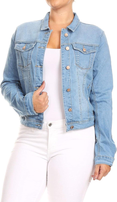 Women's Junior Plus Size, Premium Denim Jackets Long Sleeve Loose Jean Coats