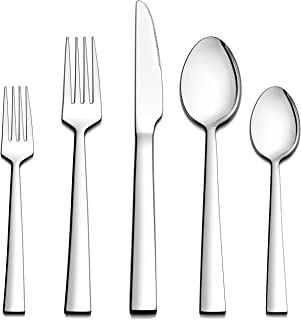 LIANYU 60-Piece Silverware Set, Stainless Steel Square Flatware Cutlery Set for 12, Eating Utensils Tableware Include Knives Forks Spoons, Dishwasher Safe