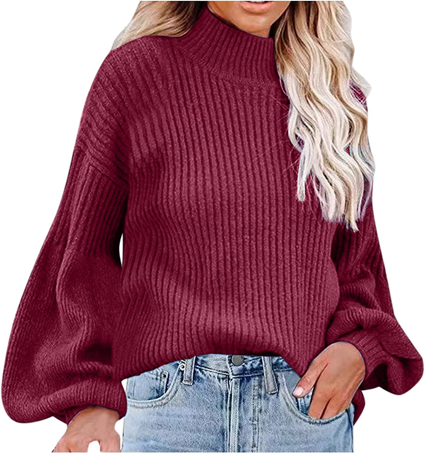 Women's Sweaters Waffle Solid Color High Neck Jumper Top Long Sleeve Pullover Knit Sweater for Women by Pocciol