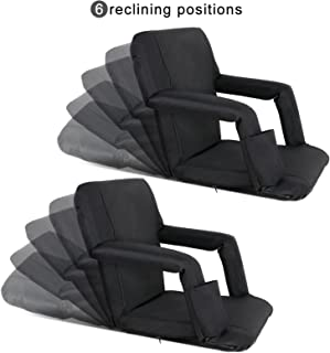 Nova Microdermabrasion Portable Stadium Seat Chair Reclining Seat for Bench Bleachers W/Padded Cushion Shoulder Straps - 6 Reclining Positions - Water Resistant (Black 2pcs)