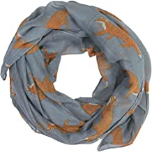 Women scarves fox print large lightweight scarf shawl wrap (Charcoal grey)