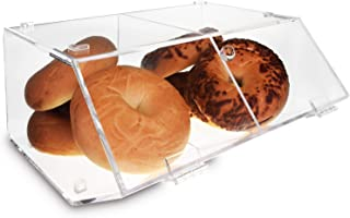 Ikee Design Acrylic Display Case Storage w/ A Hinged, Slanted Door & A Divider, 2 Compartments