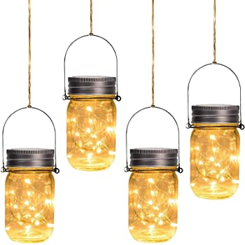 Otdair Solar Mason Jar Lights, Solar Powered Lanterns Outdoor Decorative, 30LED String Fairy Lights, Tree Lights Outdoor Hanging, for Room, Patio, Garden, Party, Wedding, Christmas, 4 PCS