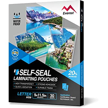Amazon Com Everest Self Sealing Laminating Pouches Waterproof Lamination Pouches Permanent Adhesive 9 X 11 5 Inches 30 Sheets 10 Mils Thick Gloss Finish Letter Size No Laminating Machine Needed Office Products