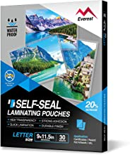 Everest Self Sealing Laminating Pouches, Waterproof Lamination Pouches, Permanent Adhesive, 9 x 11.5 Inches, 30 Sheets, 10 Mils Thick, Gloss Finish Letter Size, No Laminating Machine Needed