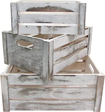 Admired By Nature Distressed Decorative Set of 3 Rectangle Storage Gift Wood Crates, A. Rustic White