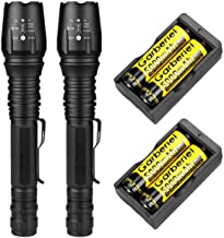 FlashDealer Led Flashlight 2 Pack High Lumen Torch with Rechargeable Battery and Charger..
