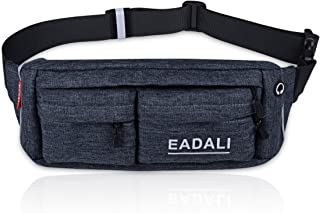 Eadali Running Waist Bag Adjustable Stretchy Zippered Fanny Pack with Headphone Port, Fitness Workout Travel Yoga Compatible for Man Women Carrying iPhone8 Plus Screen Size 6.0inch
