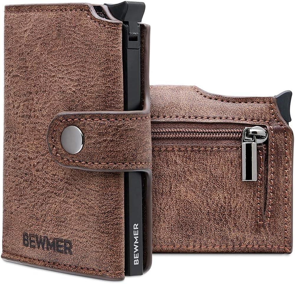 Portafoglio e portacarte di credito slim unisex con protezione rfid anticlonazione in ecopelle marrone