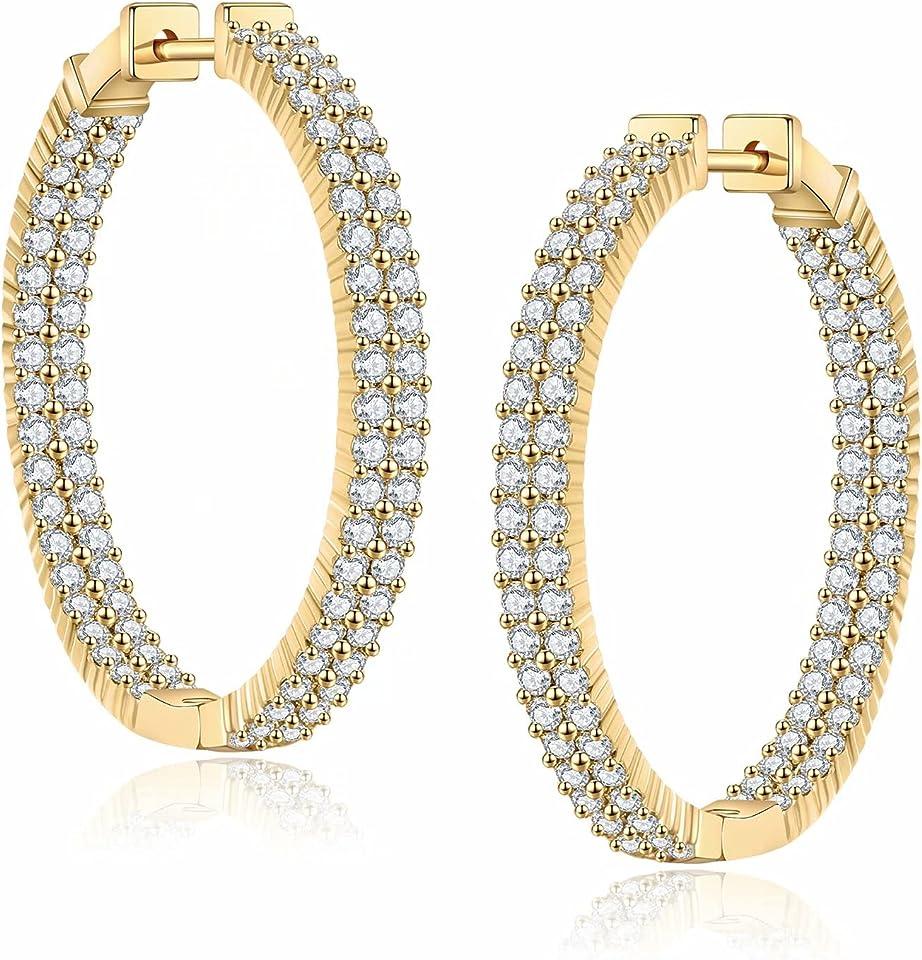 S925 Sterling Silver Post, 14K Gold Plated Dainty Oval Medium Hoops Hypoallergenic CZ Inside-Out Hoop Earrings for Women Girls Jewelry