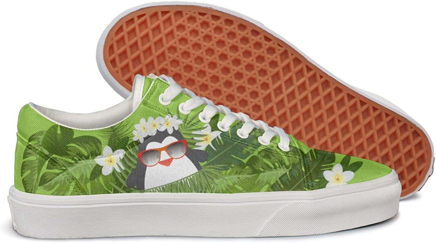 Milr Gile Hawaii Holiday Penguin Print Sneaker Flat Canvas shoes for Womens Stylish