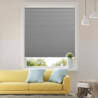 SBARTAR Cellular Shades Cordless Blackout Honeycomb Blinds Fabric Window Shades 35x38 inch, Cool Silver(Blackout)