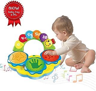 ACTRINIC Juguete para bebés de 6-12 años Juguete portátil con música para bebés Juguete Instrumental de Tambores de Mano Juguete de música/Luce/Sonido Graciosos -Dos Colores al Azar
