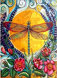 Twuky DIY 5D Diamond Painting, Home Decoration Crafts, Cross Stitch Craft, Full Drill,Dragonfly(30X45CM/12X18inch)
