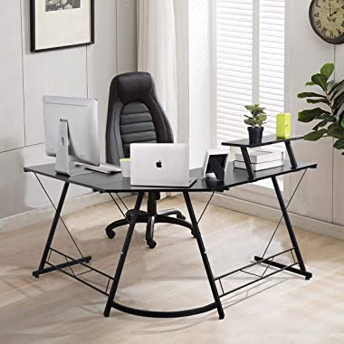 Furniturer INC L-Shaped Desk Gaming Computer Corner Desk Home Office Desk Study Writing Table with Large Monitor Stand for PC