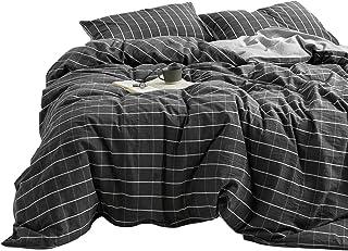 MENRAIBO(綿来紡)綿100 布団カバー シングル 3点セット ボックスシーツ枕カバー ベッドカバー寝具カバー セットシンプルな(チェック柄xダークグレー, シングル)