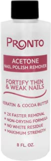 Pronto Nail Polish Acetone Remover with Nourishing Keratin and Cocoa Butter – For Natural, Gel, Acrylic or Sculptured Nails