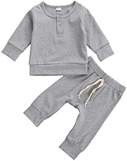 Newborn Baby Boys Girls Casual Clothes Solid Long Sleeve Button Tops+Drawstring Pants Set 2PCS Fall Winter Outfits Set