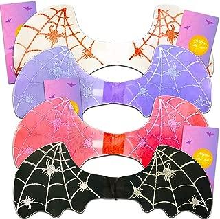 Bat Wings Costume Set for Kids Girls Boys - 4 Bat Wings with Glitter and 4 Bonus Door Hangers (Black, White, Red, Purple)