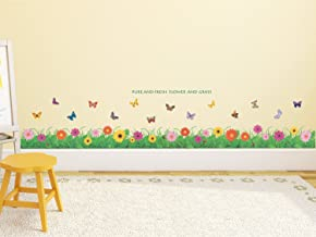 Amazon Brand - Solimo Wall Sticker for Kids' Room (Little Floral Hedge, Ideal Size on Wall, 121 cm X 25 cm)