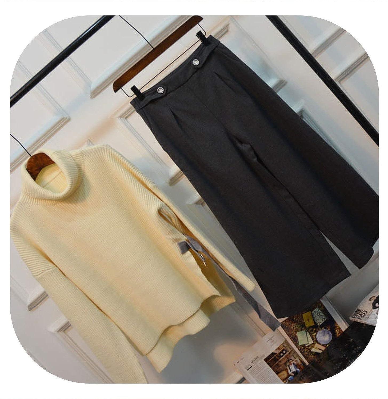 Small Fragrance Sweater Elegant Knitting Sweater Suit for Women Set Wide Leg Pants