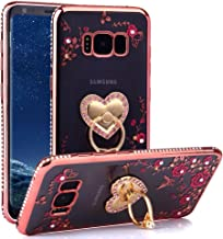 CaseHaven Galaxy S8 Plus Case, Glitter Crystal Heart Floral Series - Slim Luxury Bling Rhinestone Clear TPU Case with Ring Stand for Samsung Galaxy S8 Plus (SM-G9550) - Rose Gold