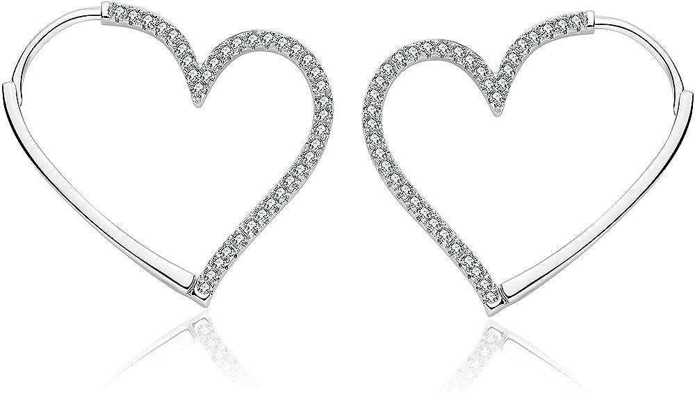 Brosway sublime trendy orecchini per donna in ottone rodiato a forma di cuore con pavè di zirconi bianchi BSB22