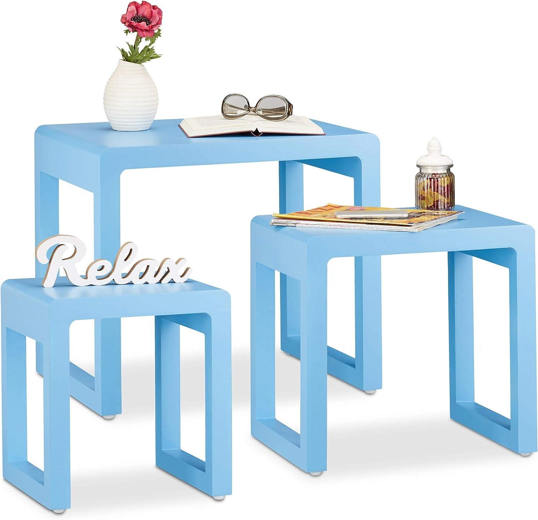 tiendas minoristas Relaxdays Juego de Mesas Nido de Colors, Colors, Colors, Madera MDF, Azul, 49 x 55 x 40 cm, 3 Unidades  entrega de rayos
