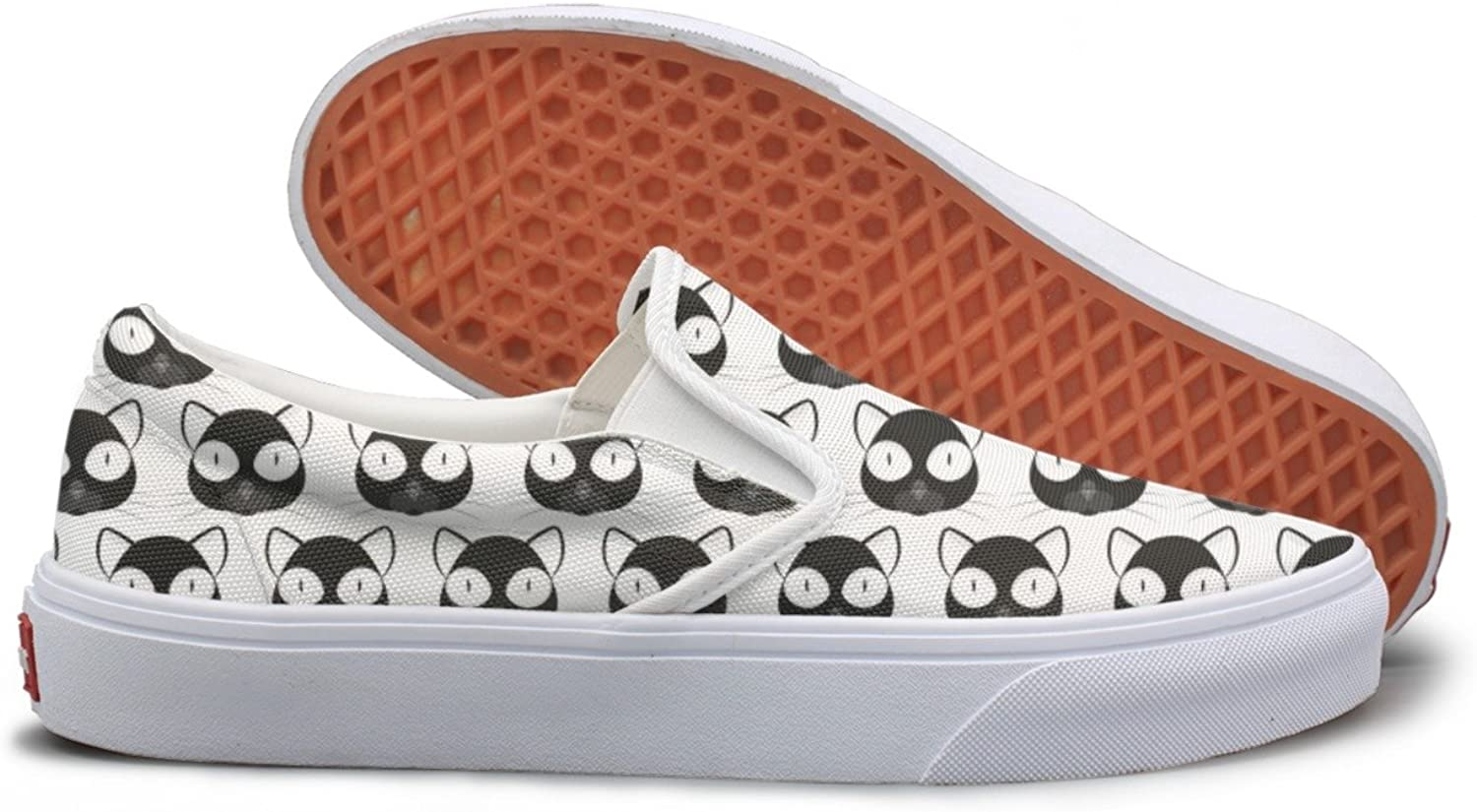 SEERTED Black Cat Face White Background Womens Slip On Canvas shoes