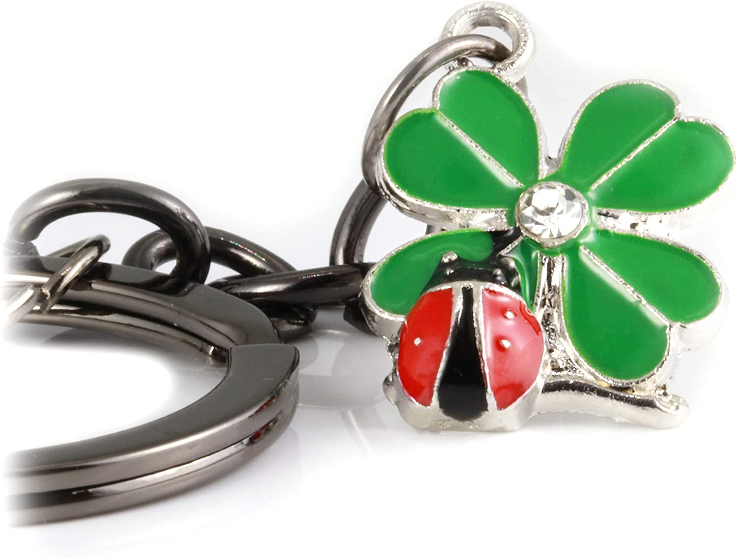 Ladybug Gifts | Ladybug Key Chain of a Lady Bug on a Four Leaf Clover Lucky Keychain 1 inch diameter Black Key Chain with Black Chain to the Ladybug Charm on a Four Leaf Clover with Rhinestone Center