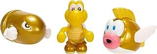 NINTENDO Mario Bros U Micro Figure (3-Pack : Gold Bullet Bill/Gold Koopa Troopa and Gold Cheep Cheep)