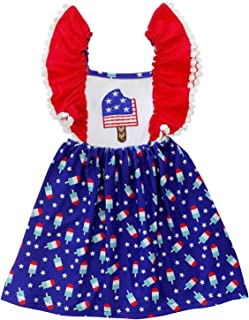 So Sydney Toddler & Girls Patriotic Pom Pom Cotton Dress