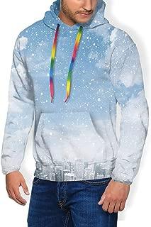 Men's Hoodie Plus Velvet Sweatshirt,Snow Falling Down On The New York City Urban Life Skyscrapers Streets Cold Weather L