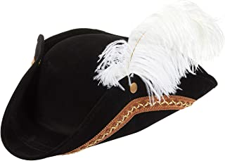 Juvale Tricorn Pirate Hat for Halloween, Colonial Revolutionary War Theme Birthday Party Costume, Adult Black