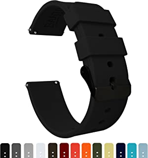 Barton Silicone Quick Release - Black Buckle - 16mm, 18mm, 20mm, 22mm, 24mm - Silky Soft Rubber Watch Bands