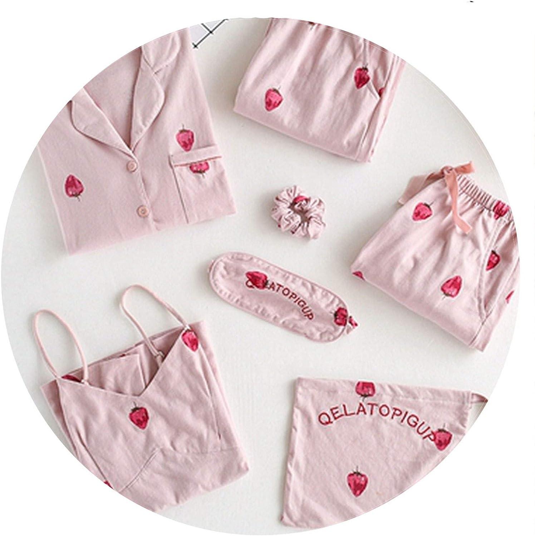 100Expectations Cotton Sweet Strawberry Print Pajamas Women Sexy Lingerie Sets Sleepwear Nightwear