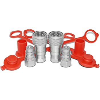 "1/4"" Ag ISO 5675 Hydraulic Quick Connect Pioneer Style Couplers, 1/4"" NPT Thread, 2 Sets"