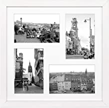 Golden State Art, 12x12-inch Square Photo Wood Collage Frames with Photo Mat & Real Glass for 4 4x6 Pictures, White