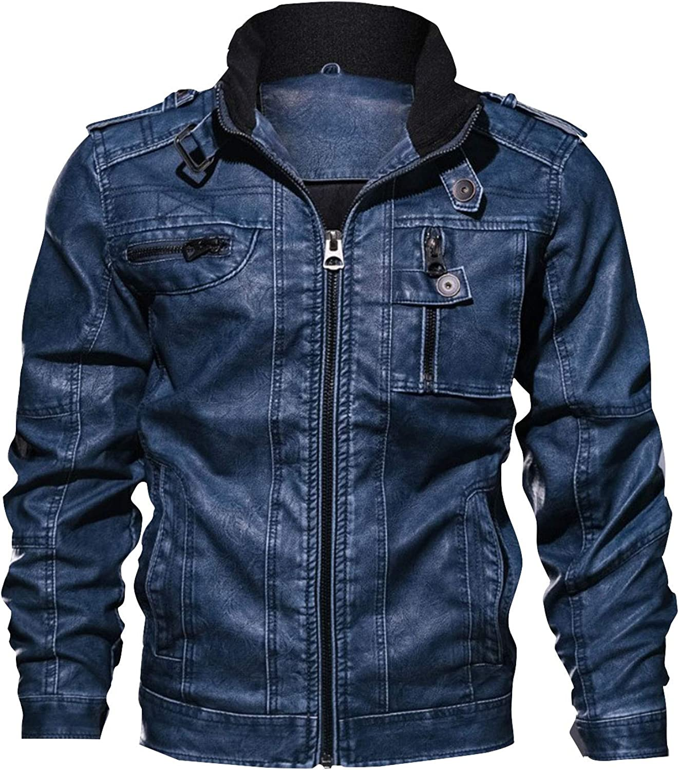 Safeeye Men's Faux Leather Max 55% OFF Moto Outdoor Jackets Casual Baltimore Mall Recreatio