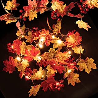 Fall Maple Leaf String Lights with Holly Berries 20 LED 6.5Ft, Thanksgiving ChristmasHalloweenDecoration Indoor Outdoor ...