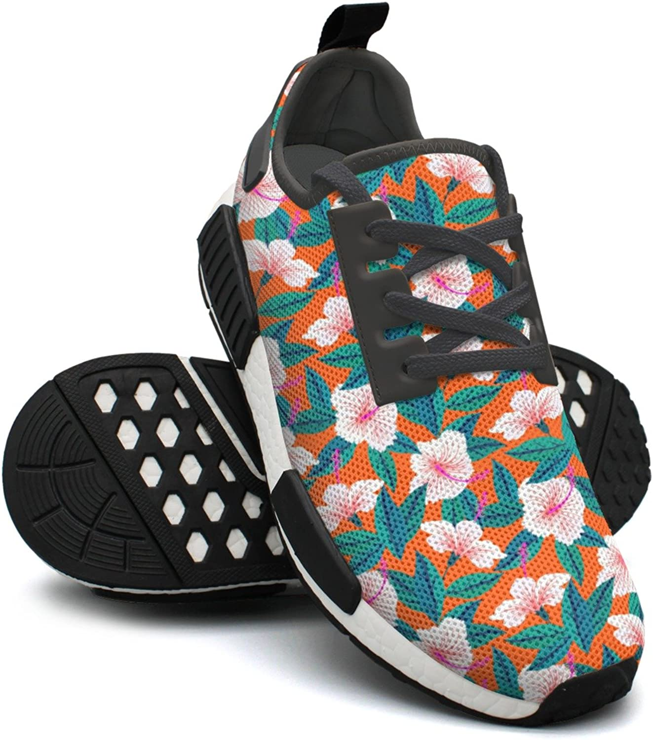 Ououla Tropical Pattern With White Hibiscus Flowers Women Comfortable NMD PK Table Tennis shoes